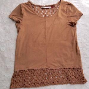 3/$13 Camel Brown Crochet Blouse